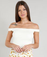 ebd712276 Blusa Feminina Cropped Ombro a Ombro Canelada em Tricô Bege Claro ...