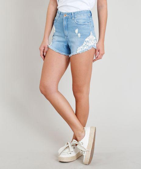 Short-Jeans-Feminino-Hot-Pant-Destroyed-com-Guipir-Azul-Claro-9352636-Azul_Claro_1