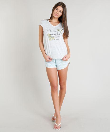 Pijama-Feminino--Beautiful--Manga-Curta-Cinza-Mescla-Claro-9296030-Cinza_Mescla_Claro_1