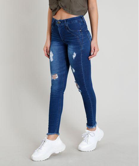 b039ca2bda6d Calça Jeans Feminina Sawary Super Skinny Levanta Bumbum com Barra ...