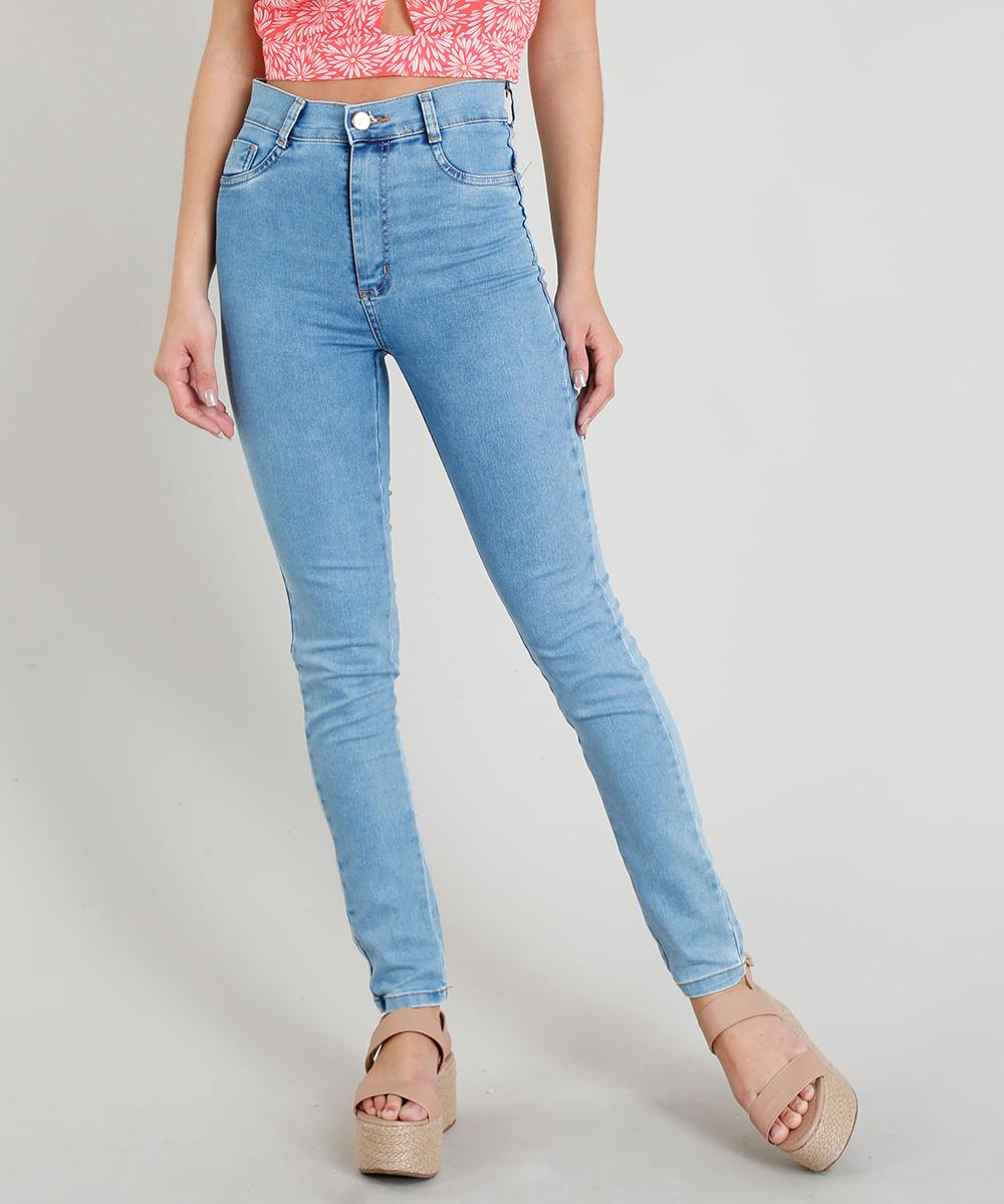 7486ddcf8 Calça Jeans Feminina Sawary Hot Pant Super Skinny Azul Claro - cea