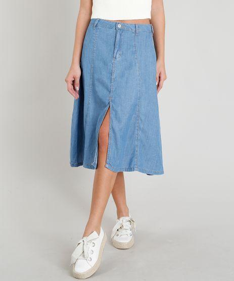 Saia-Jeans-Feminina-com-Fenda-Azul-Claro-9365628-Azul_Claro_1