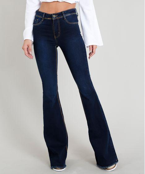 1066c16b6 Calça Jeans Feminina Sawary Flare com Barra Desfiada Azul Escuro - cea
