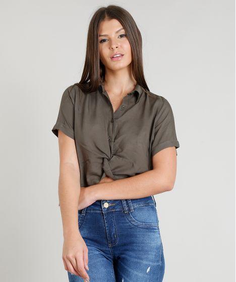 ed1c237ae9 Camisa Feminina Cropped com Nó Manga Curta Verde Militar - cea