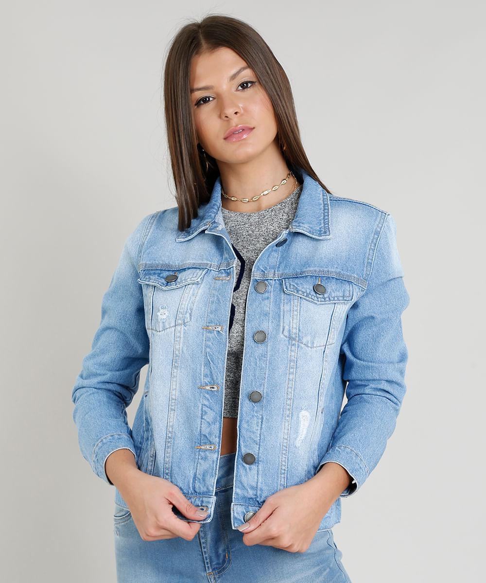 8c3bb779e8 Jaqueta Jeans Feminina com Puídos Azul Claro - ceacollections