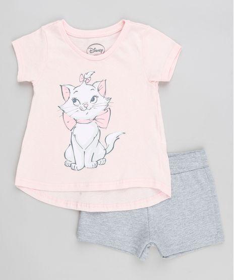 Conjunto-Infantil-Marie-de-Blusa-Manga-Curta-Rose---Short-em-Moletom-Cinza-Mescla-9370445-Cinza_Mescla_1