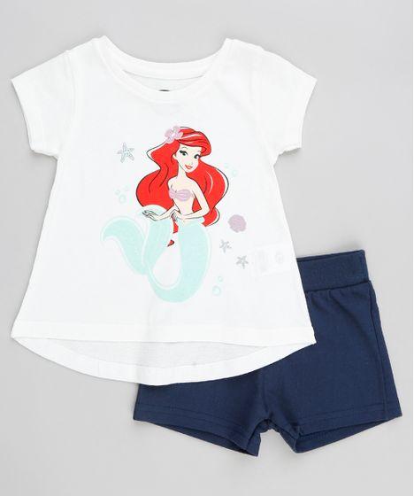 2e0ec2f80 Conjunto Infantil Pequena Sereia Ariel de Blusa Manga Curta Branca + ...
