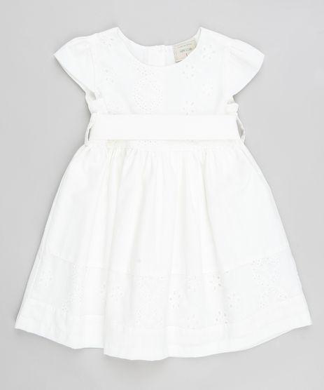 Vestido-Infantil-com-Laise-e-Faixa-para-Amarracao-Manga-Curta-Branco-9378647-Branco_1