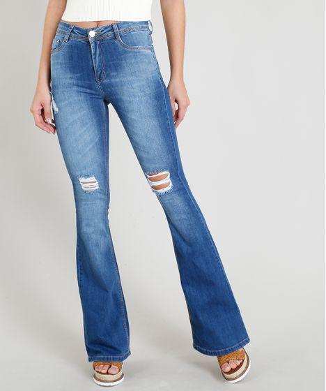 88057b8c1 Calça Jeans Feminina Sawary Flare com Rasgos Azul Médio - cea