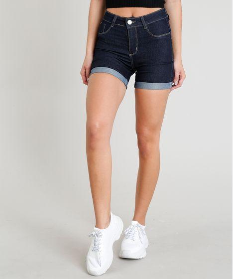 766b6950e Bermuda Jeans Feminina Sawary com Barra Dobrada Azul Escuro - cea
