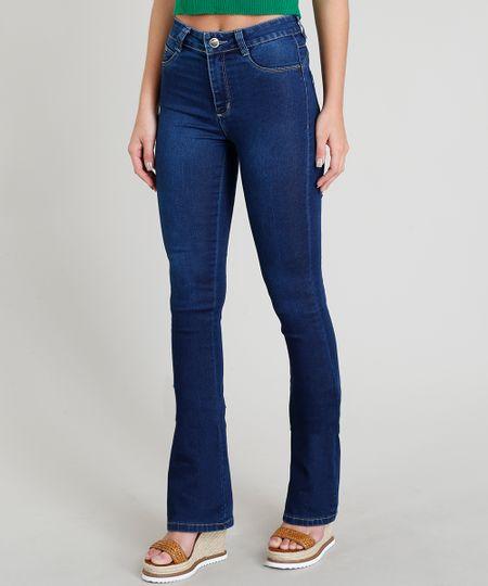750189441 Calça Jeans Feminina Sawary Boot Cut Azul Escuro - cea