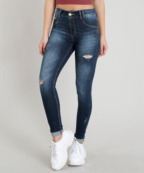 Calca-Jeans-Feminina-Sawary-Cigarrete-Barra-Dobrada-com-Rasgos-Azul-Escuro-9368340-Azul_Escuro_1