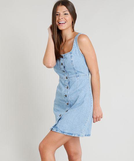 Vestido-Jeans-Feminino-com-Botoes-e-Recortes-Decote-Redondo-Azul-Claro-9346378-Azul_Claro_1