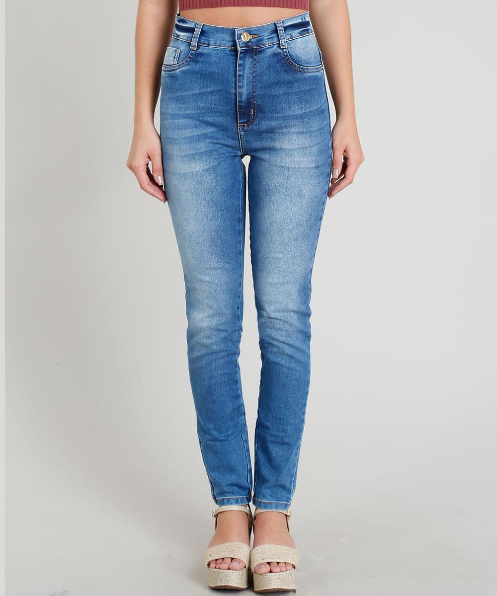 e4c333f17 Calça Jeans Feminina Sawary Super Skinny Cintura Alta Azul Médio - cea