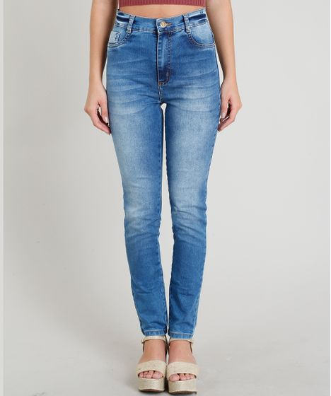b5f69720aa Calça Jeans Feminina Sawary Super Skinny Cintura Alta Azul Médio - cea