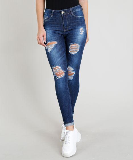 18096fe39 Calça Jeans Feminina Sawary Cigarrete Destroyed Azul Escuro - cea