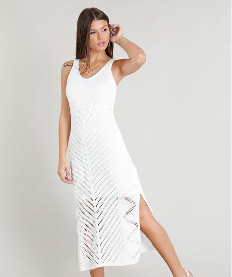 1fc7b5592d1a Vestido Feminino Midi em Tricô Decote Redondo Off White - cea