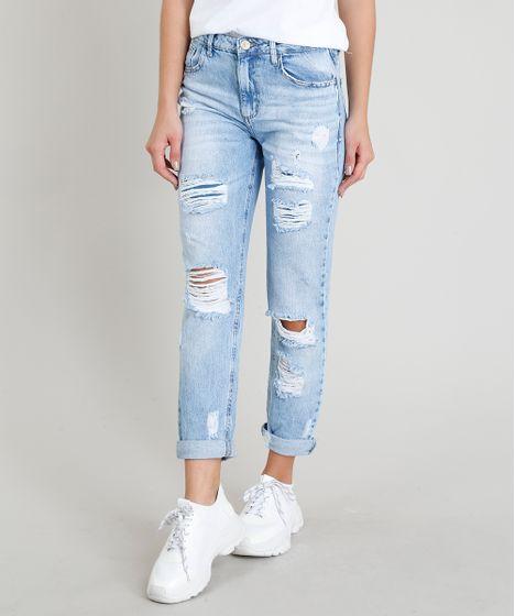 0b4354673a8ac Calça Jeans Feminina Mom Pants Destroyed Azul Claro - cea