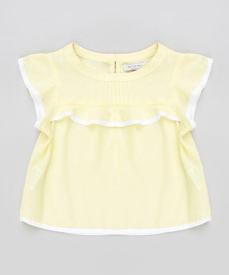 Blusa-Infantil-com-Babado-Manga-Curta-Decote-Redondo-Amarela-9174604-Amarelo_1