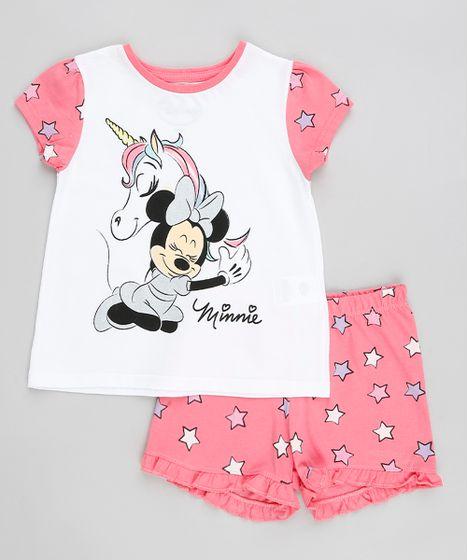 5c96bb5c184c6d Pijama Infantil Minnie e Unicórnio Estampado Manga Curta Branco - cea