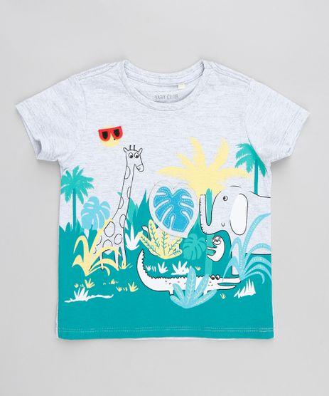 Camiseta-Infantil-com-Estampa-Interativa-Selva-Manga-Curta-Gola-Careca-Cinza-Mescla-9412523-Cinza_Mescla_1