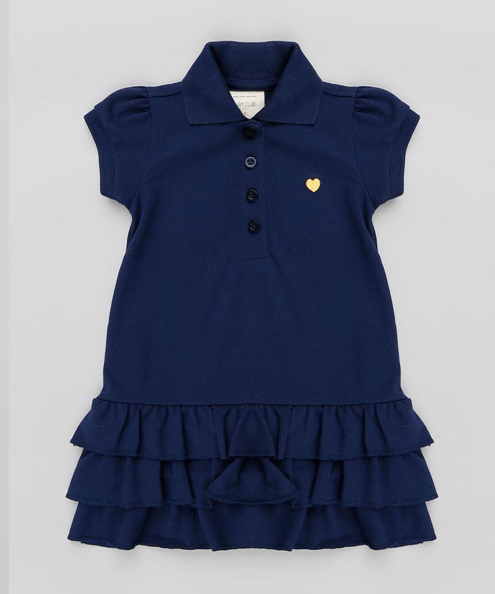 Vestido Polo Infantil com Babados em Piquet Manga Curta Azul Marinho ... 6954843a80dae