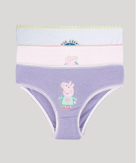 68556e091a Kit de 3 Calcinhas Infantis Peppa Pig Multicor - cea