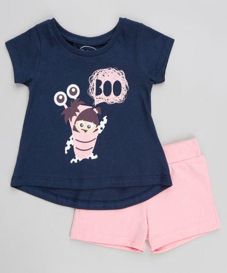 Conjunto-Infantil-Boo-Monstros-S-A-de-Blusa-Manga-Curta-Azul-Marinho---Short-em-Moletom-Rosa-9370444-Rosa_1