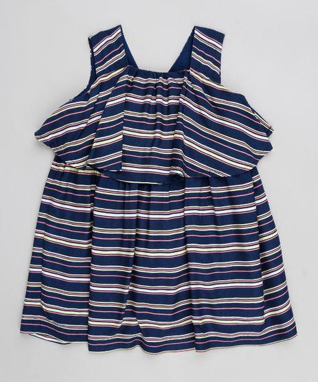 671b7246cf Vestido-Infantil-Listrado-com-Sobreposicao-Sem-Manga-Azul-