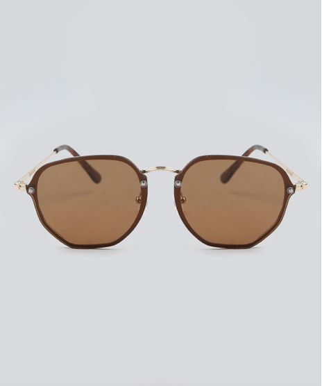 Oculos-de-Sol-Redondo-Feminino-Oneself-Dourado-9392500- 84da40fe05