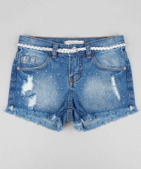 Short-Jeans-Infantil-com-Strass-e-Cinto-Metalizado-Azul-Medio-9358538-Azul_Medio_1