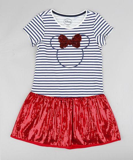 Vestido-Infantil-Minnie-Listrado-com-Paetes-Manga-Curta-Branco-9370552-Branco_1
