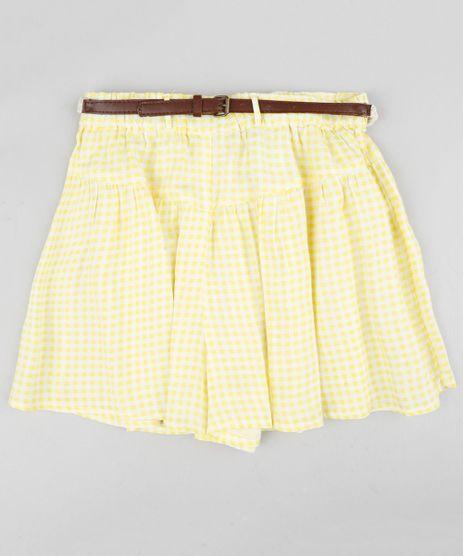 Short-Infantil-Estampado-Xadrez-Vichy-com-Cinto-Trancado-Amarelo-Claro-9182778-Amarelo_Claro_1
