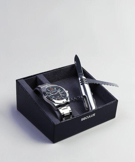 Kit-de-Relogio-Analogico-Seculus-Masculino---Canivete---99147G0MVNE1KC-Prateado-9399759-Prateado_1