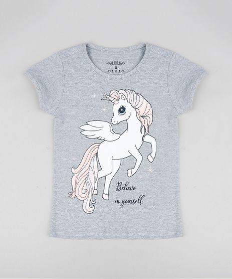 Blusa-Infantil-Unicornio-com-Glitter-Manga-Curta-Decote-Redondo-Cinza-Mescla-9324166-Cinza_Mescla_1
