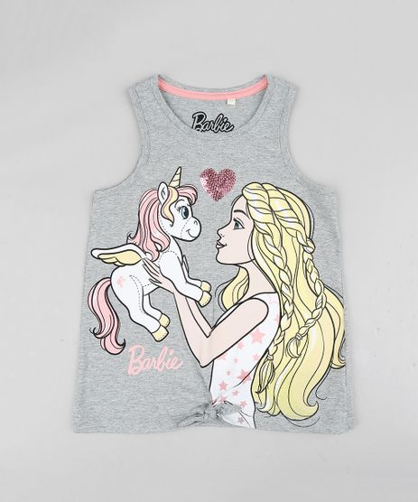 Regata-Infantil-Barbie-com-Unicornio-Decote-Redondo-Cinza-Mescla-9327705-Cinza_Mescla_1