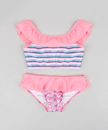 Biquini-Infantil-Estampado-com-Babado-e-Protecao-UV50--Rosa-Neon-9302503-Rosa_Neon_1