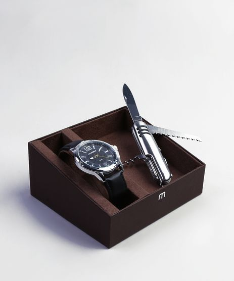 Kit-de-Relogio-Analogico-Mondaine-Masculino---Canivete---83448G0MVNH1KB-Prateado-9401195-Prateado_1