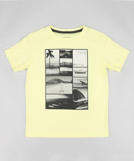 Camiseta-Infantil-Estampa--Praia--Manga-Curta-Gola-Careca-Amarela-9420592-Amarelo_1