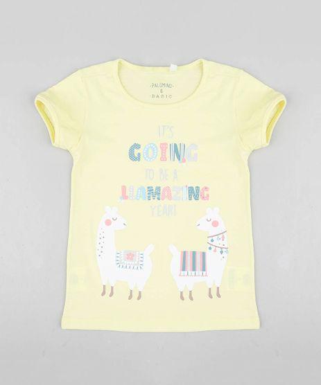 Blusa-Infantil-Lhama-Manga-Curta-Decote-Redondo-Amarela-9324165-Amarelo_1