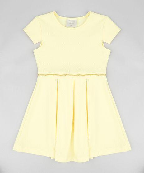 Vestido-Infantil-Texturizado-com-Pregas-e-Manga-Curta-Amarelo-9337301-Amarelo_1