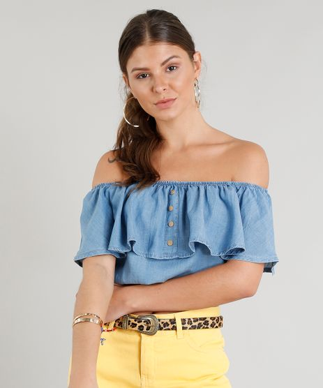 Blusa-Jeans-Feminina-Ciganinha-Cropped-com-Botoes-Azul-Claro-9372319-Azul_Claro_1