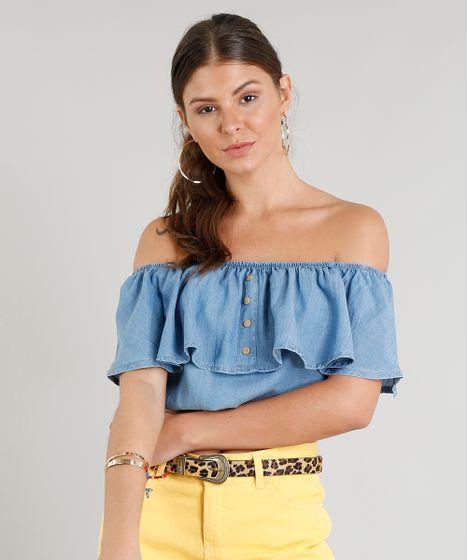 6112fccfb4 Blusa Jeans Feminina Ciganinha Cropped com Botões Azul Claro - cea