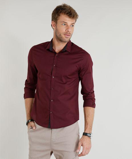 Camisa-Masculina-Slim-Manga-Longa-Vinho-9251573-Vinho_1