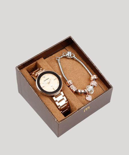 499c42bd25d Kit de Relógio Analógico Mondaine Feminino + Pulseira - 53613LPMVRE3K Rosê  - cea