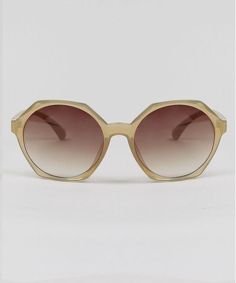 a6671407d Óculos de Sol Geométrico Feminino Oneself Bege Claro - cea