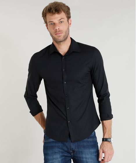 84725cdec3 Camisa-Masculina-Slim-Manga-Longa-Preta-7683136-Preto 1 ...