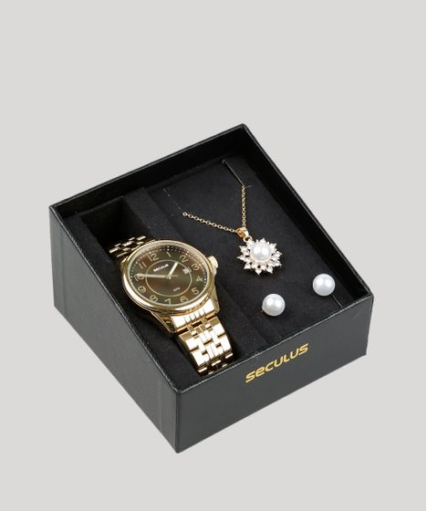 e817aadfd0f Kit de Relógio Analógico Seculus Feminino + Brinco + Colar ...
