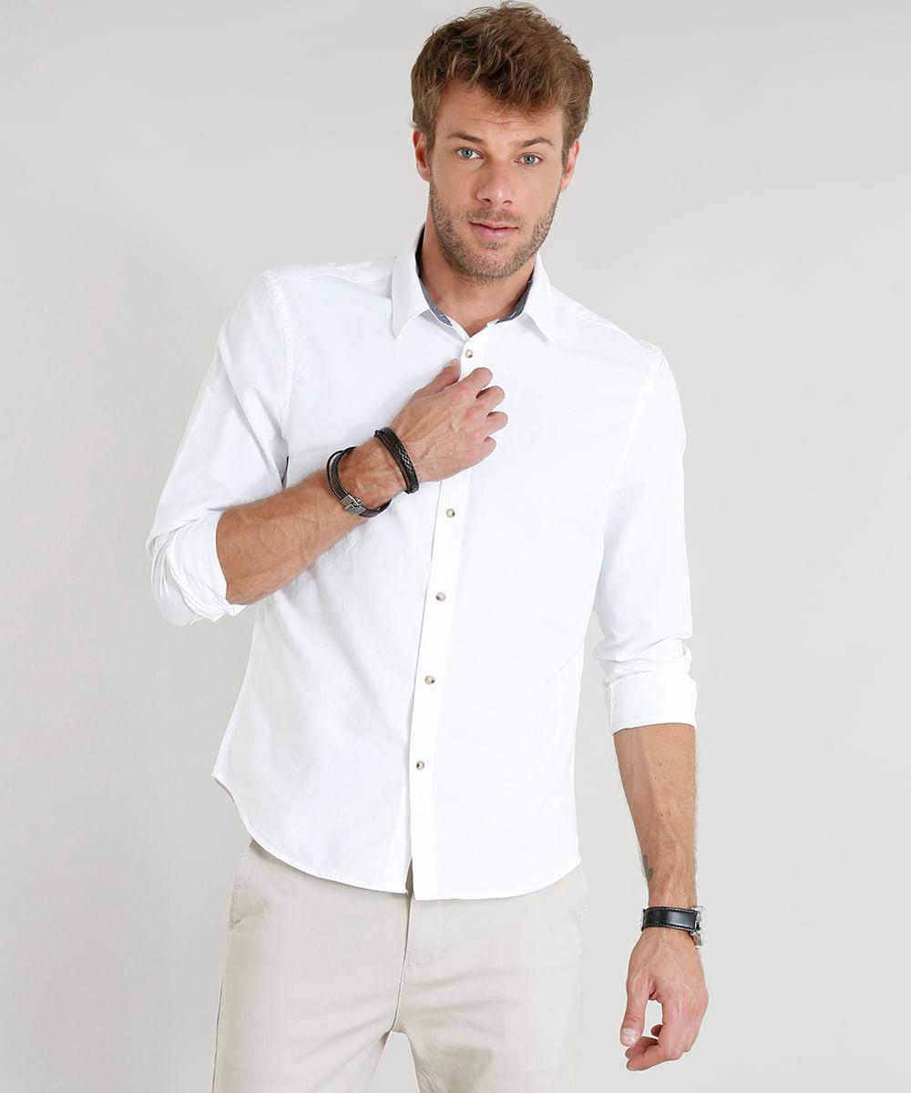 6405d8e22 ... Camisa-Masculina-Comfort-Manga-Longa-Branca-9253844-Branco 1