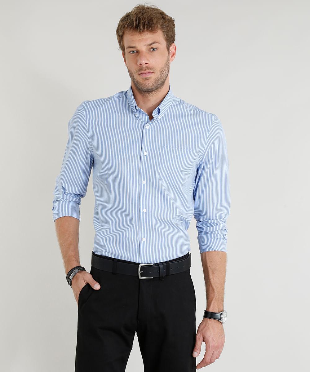 40e40a722 Camisa Masculina Comfort Listrada Manga Longa Azul Claro - cea